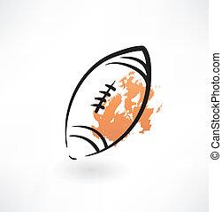 rugby, balle, grunge, icône