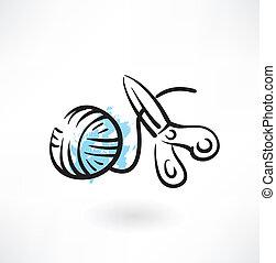ball of yarn and scissors grunge icon
