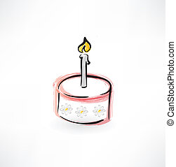 cake with a candle grunge icon
