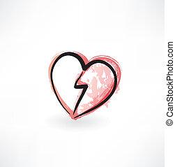 broken heart grunge icon