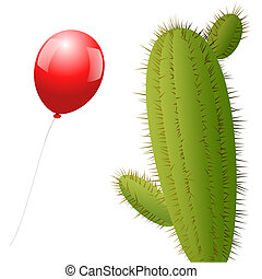 Balloon Cactus - A red balloon approaches a cactus with many...