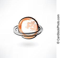 Saturn grunge icon