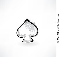 suit of spades grunge icon