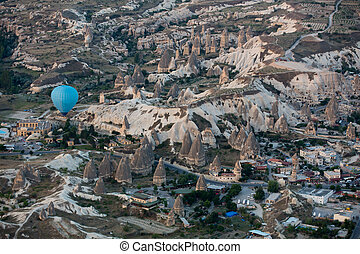 Hot Air Baloon over Cappadocia at sunrise. Turkey