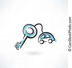 car keys grunge icon