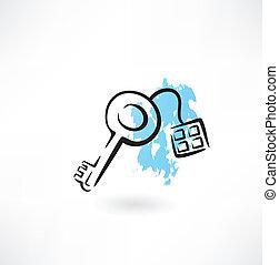 house key grunge icon
