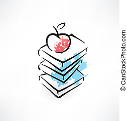 apple on the book grunge icon
