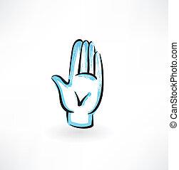 palm hand grunge icon