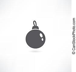 Christmas tree ball icon