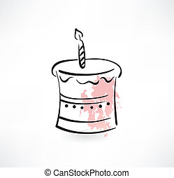 cake and candle grunge icon