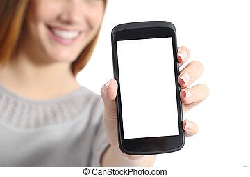 Close up of a funny woman holding a blank smart phone screen...