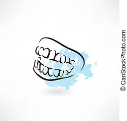mandíbula, dentes, ícone