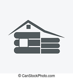 Wooden house icon on white background - Vector illustration