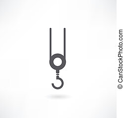 Image of crane beam with a hook on a white background