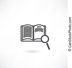 Open book and magnifying glass