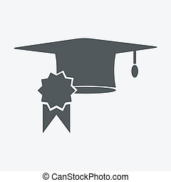 graduation cap and diploma certificate colorful flat style vector illustration