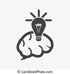 lightbulb and brains  icon