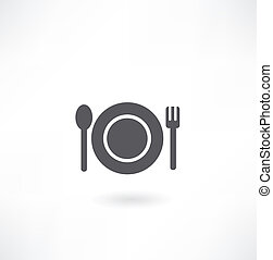 plate with spoon and fork icon