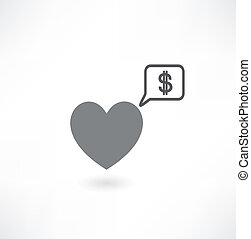 heart with dollar icon