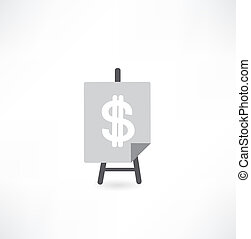 easel with dollar icon