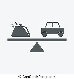 purse and car icon