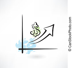 Business growth graph grunge icon