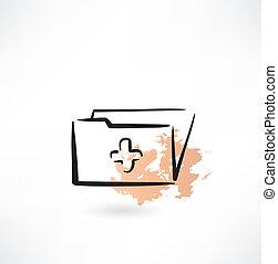 med folder grunge icon