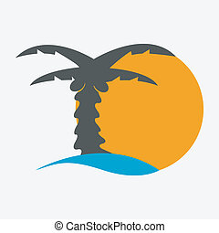 Coconut palm tree icons or symbols of travel- vector graphic. This illustration represents exotic travel destinations, tropical tourism places, beach and sea resorts and spas, etc