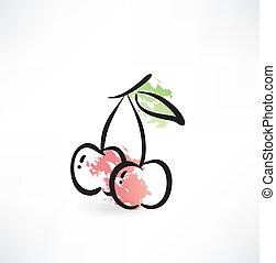 Cherry grunge icon