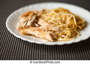 plate with meat and pasta, fried chicken as food for...