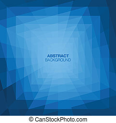 Abstract Blue Geometric Tunnel Background. Vector...