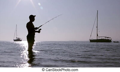 Ria Formosa Fisherman Silhouette C - Sunset fisherman...
