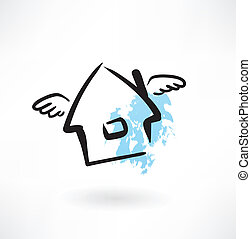 house with wings grunge icon
