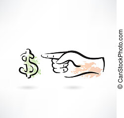 Dollar and the hand grunge icon