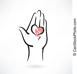 heart in the hand grunge icon