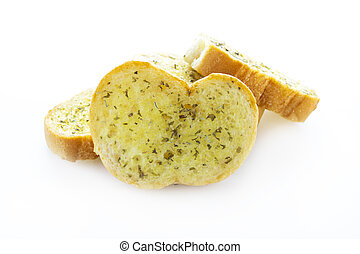 Close up garlic bread on white background
