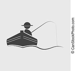 pescador, vector, Ilustración