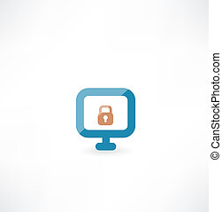 Computer with lock icon
