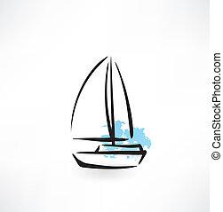 sailing boat grunge icon