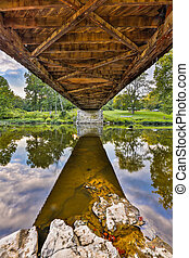 Covered Bridge Underbelly - Indiana's Cataract Falls Covered...