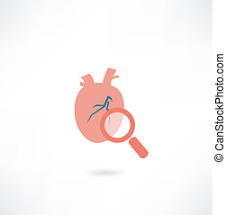 heart under a magnifying glass icon