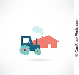 farm with tractor icon