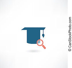 hat university graduate with a magnifying glass icon