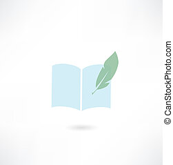 book with quill pen icon