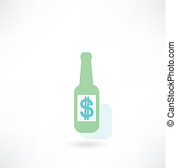 bottle with dollar icon