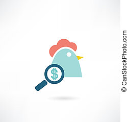 chicken with dollar icon