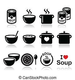 Soup in bowl, can and pot icons - Vector icons set of soup...