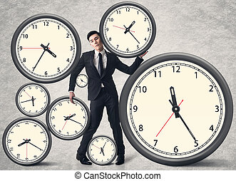 Time pressure concept, Asian business man with many clocks