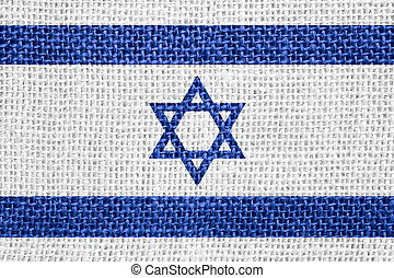 flag of Israel or Israeli banner on linen background
