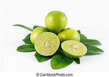 lemon sliced on white background